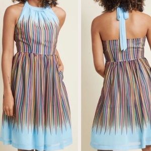 Modcloth What's the Zeal Halter Dress Blue Stripe